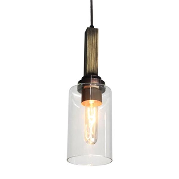 Artcraft Lighting Home Glow Collection 4.5-in x 14.5-in Distressed Pine Cylinder Mini Pendant Light