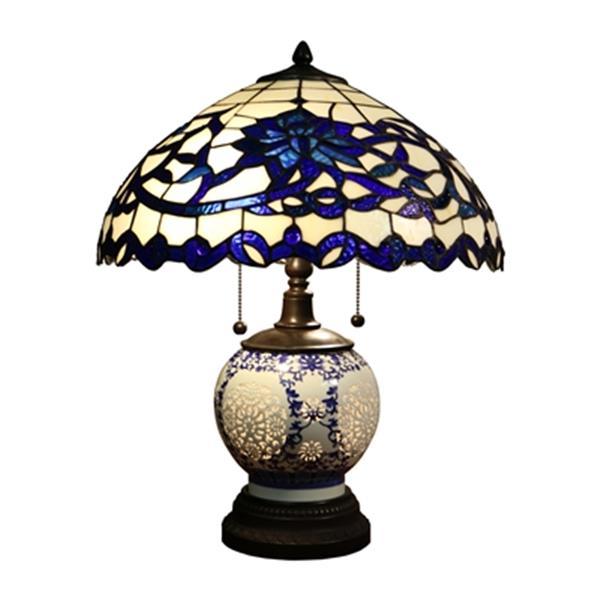 Warehouse of Tiffany Akiko 3-light Double-lit Tiffany-style Table Lamp