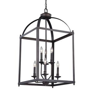 Cascadia Lighting Juliet Collection 18-in x 36-in Architectural Bronze 6-Light Cage Pendant Light