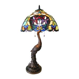 Chloe Lighting Floral Persia 2-Light Tiffany-Style Table Lamp
