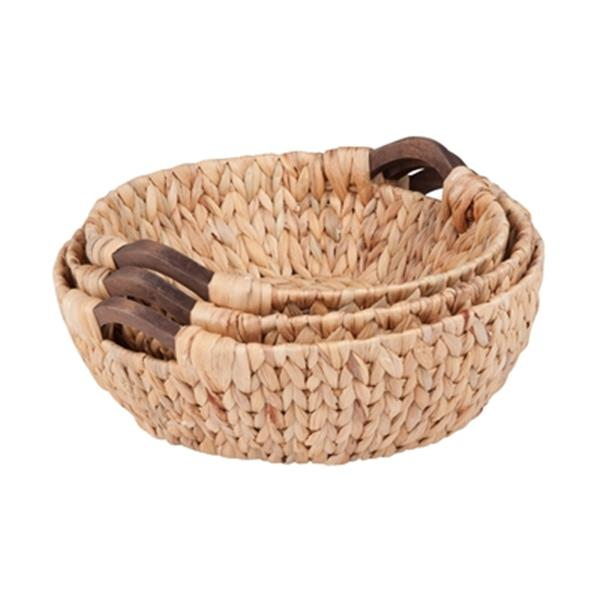 Honey Can Do Wicker Round Water Hyacinth Basket Set