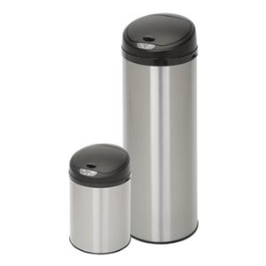 Honey Can Do Stainless Steel Round Sensor 50L+12L Trash Can Combo