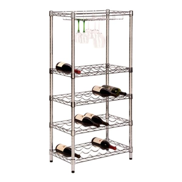 Honey Can Do SHF-02922 5-Tier Wine Rack with Glass Caddy,SHF