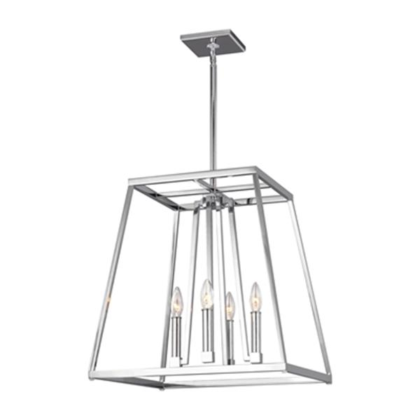 Feiss Conant Collection 18-in x 19-in Chrome 4-Light Cage Foyer Chandelier