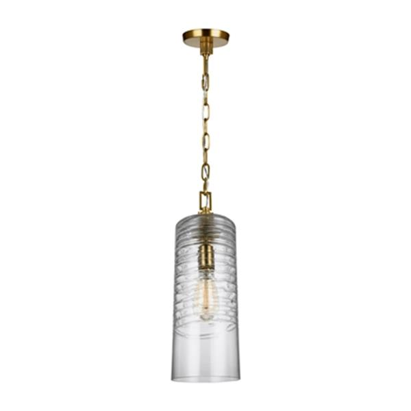 Feiss Elmore Collection 6-in x 18.5-in Burnished Brass Cylinder Mini Pendant Light