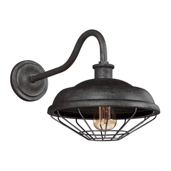 Feiss Lennex Collection 12-in x 12.5-in Slated Grey Metal Gooseneck Wall Lantern