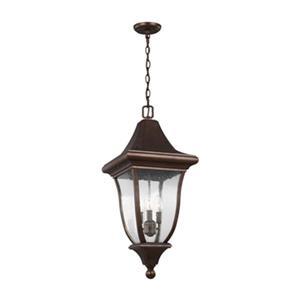 Feiss Oakmont Collection 12-in x 28.25-in Bronze Lantern 3-Light Pendant Light