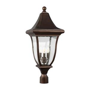 Feiss Oakmont 3-Light Patina Bronze Outdoor Post Lantern.
