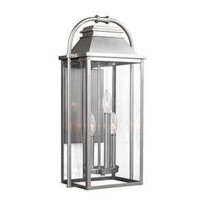 Feiss Wellsworth 3-Light  Painted Brushed Steel Outdoor Wall Lantern.