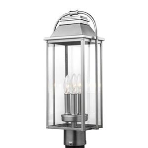 Feiss Wellsworth 3-Light Painted Brushed Steel Post Lantern.