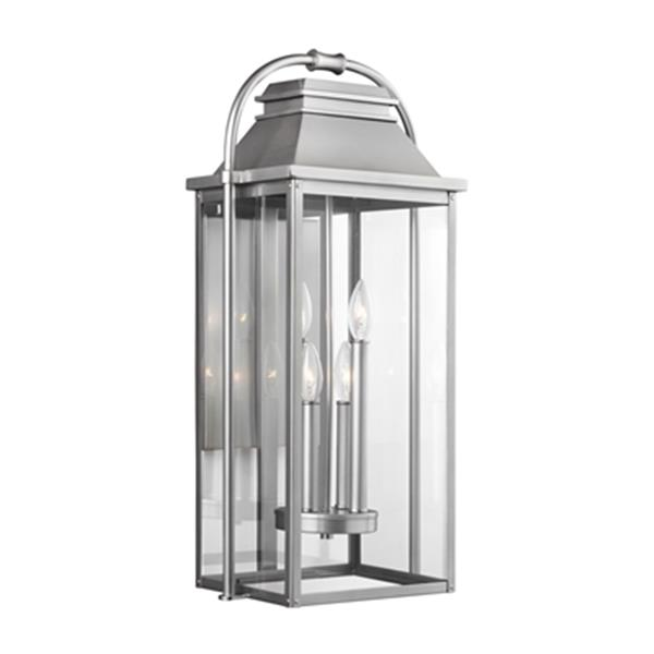 Feiss Wellsworth 4-Light Painted Brushed Steel Outdoor Wall Lantern