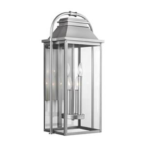 Feiss Wellsworth 4-Light Painted Brushed Steel Outdoor Wall Lantern.