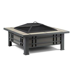Real Flame 33.6-in x 17.9-in Black Morrison Ceramic Tile Fire Pit
