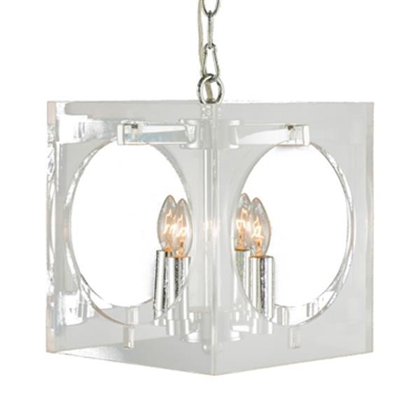 Design Living 10-in x 14-in Chrome 4-Light Acrylic Mini Pendant Light