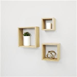 Nexxt Design Cubbi Tan 3-Piece Wall Shelf