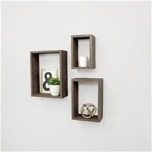 Nexxt Design Nesting Driftwood Grey 3-Piece Wall Shelf