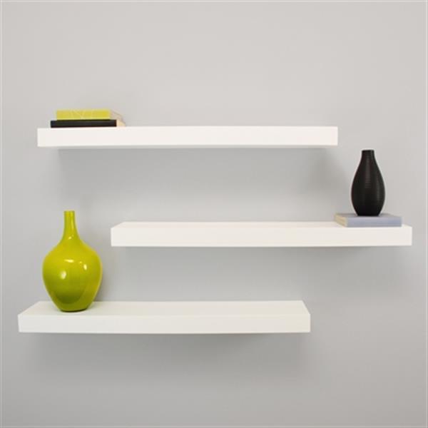 Nexxt Design Maine White Floating Ledge Decorative Wall Shelf (3 Pack)