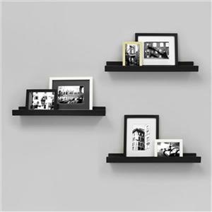 Nexxt Design 23-in x 4-in Black Edge Picture Frame Ledge Shelf (Set of 3)