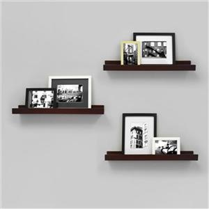 Nexxt Design 23-in x 4-in Espresso Edge Picture Frame Ledge Shelf (Set of 3)