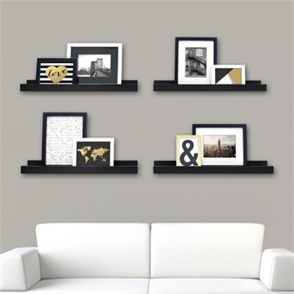 Nexxt Design 23-in x 4-in Black Edge Picture Frame Ledge Shelf (Set of 4)