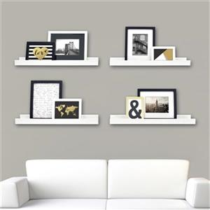 Nexxt Designs 23-in x 4-in White Edge Picture Frame Ledge Shelf (Set of 4)
