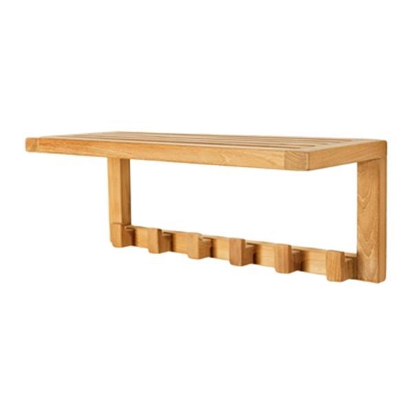 "Wall Shelf with Hooks - 24"" - Teak - Brown"