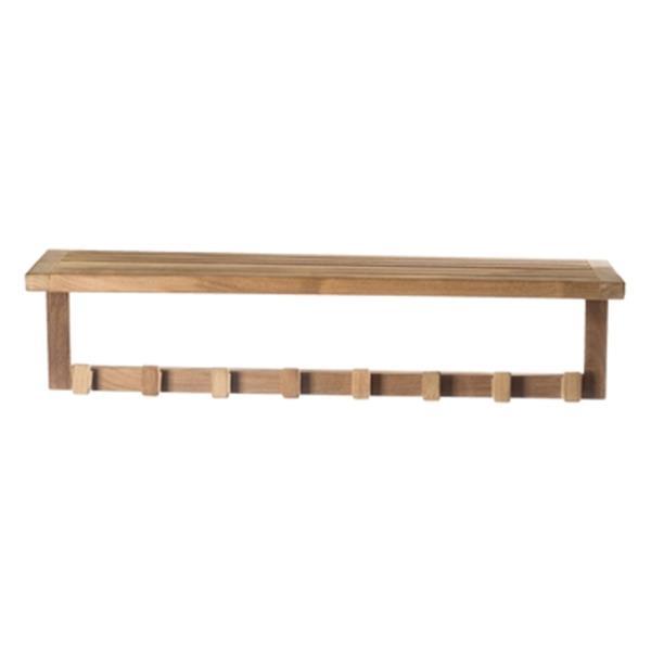 ARB Teak & Specialties Teak Wall Shelf with Hooks