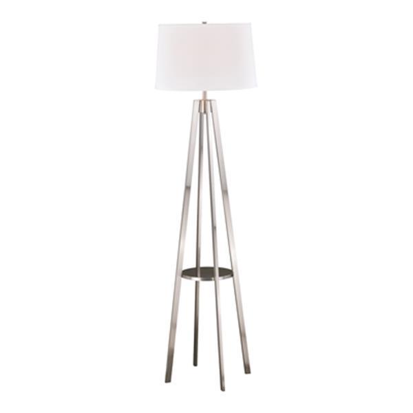 Cascadia Perkins Nickel Mid-Century Modern Floor Lamp Drum Shade