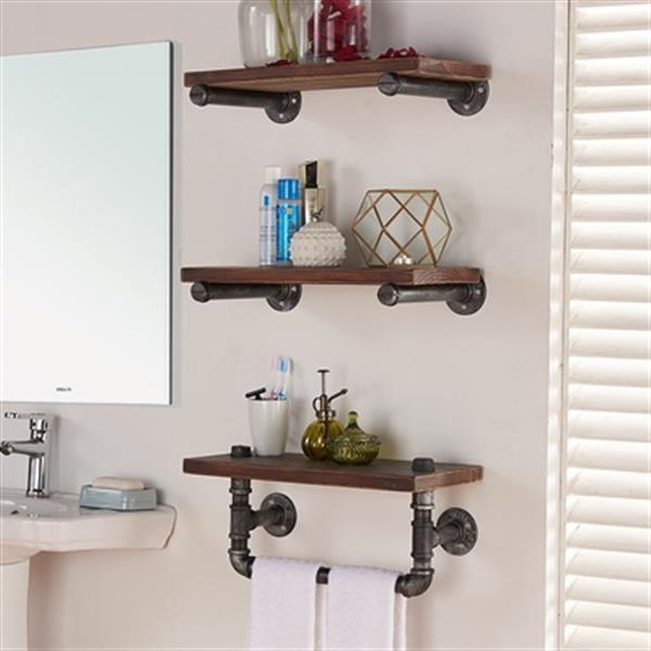 Armen Living Conrad Brown Floating Wall Shelf