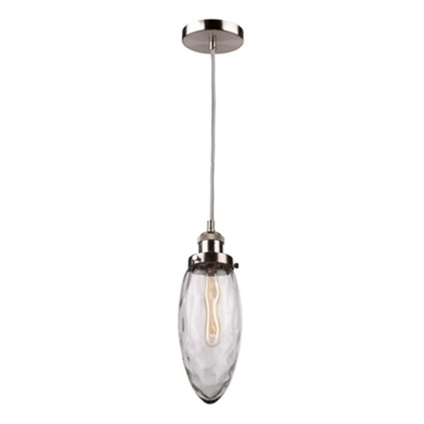 Artcraft Lighting Lux Collection 4.5-in x 13.5-in Brushed Nickel Oval Hammered Glass Mini Pendant Light