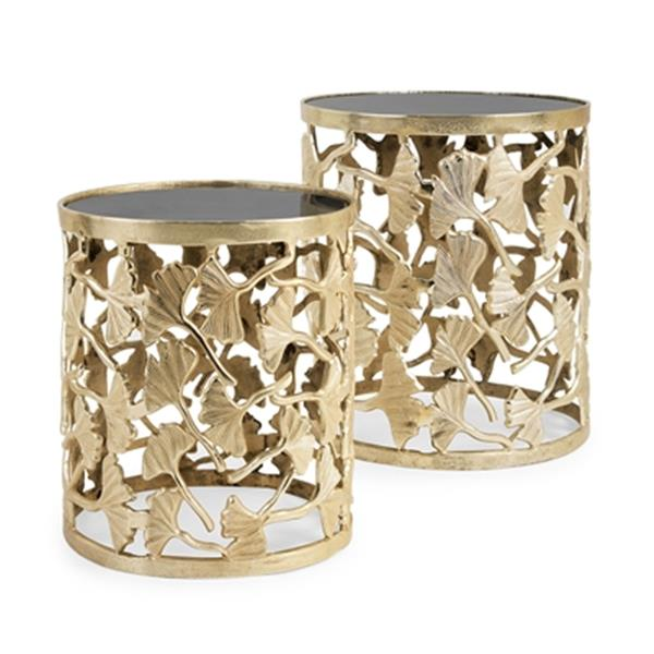 IMAX Worldwide Trisha Yearwood Gold Luxe Ginkgo End Tables (Set of 2)
