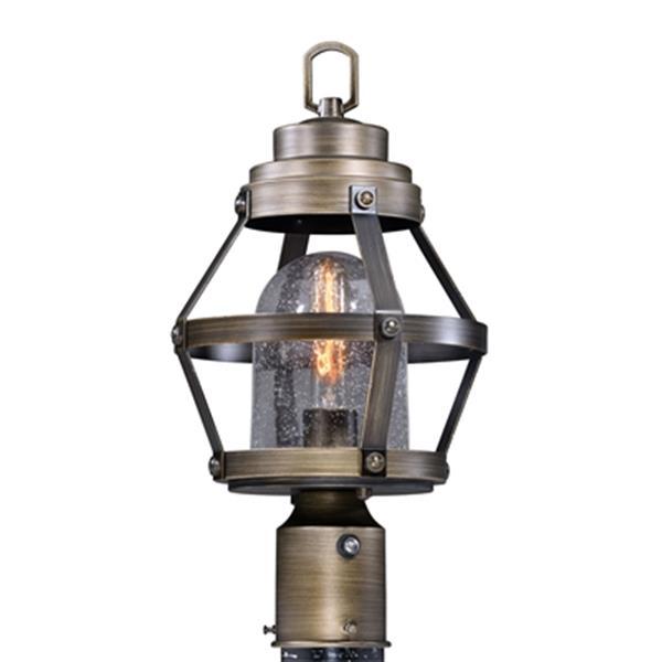 Cascadia Bruges 1-Light Dusk to Dawn Bronze Outdoor Cage Post Light