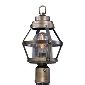 Cascadia Bruges 1-Light Dusk to Dawn Bronze Outdoor Cage Post Light