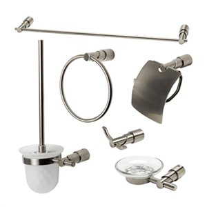 ALFI Brand 6-Piece Nickel Bathroom Accessory Set
