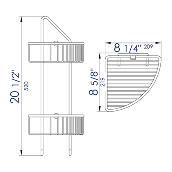 ALFI Brand Corner Mounted Double Basket Shower Shelf