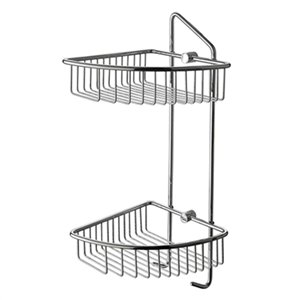ALFI Brand Corner Mounted Double Basket Shower Shelf