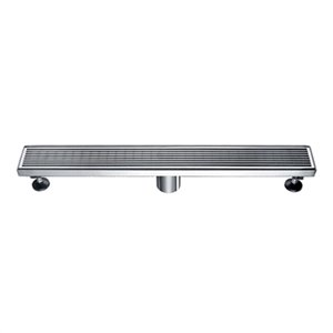 ALFI Brand Modern Stainless Steel Linear Drain with Groove Lines