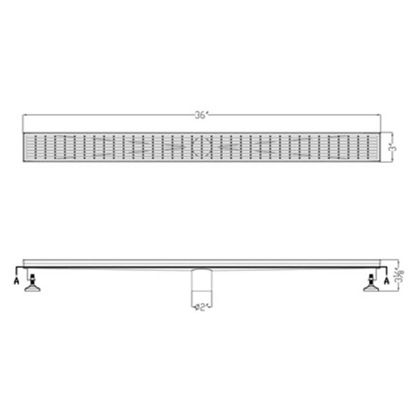 ALFI Brand Modern Stainless Steel Linear Shower Drain with Groove Lines