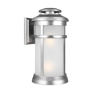 Feiss Newport 2-Light Brushed Steel Wall Lantern.