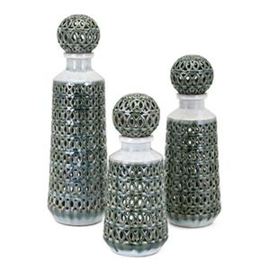IMAX Worldwide Vivian Ceramic Sage Green Bottles  With Stopper (Set Of 3)