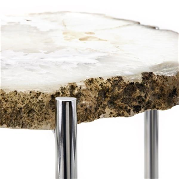 IMAX Worldwide Giselle 15.00-in x 21.00-in White Agate Side Table