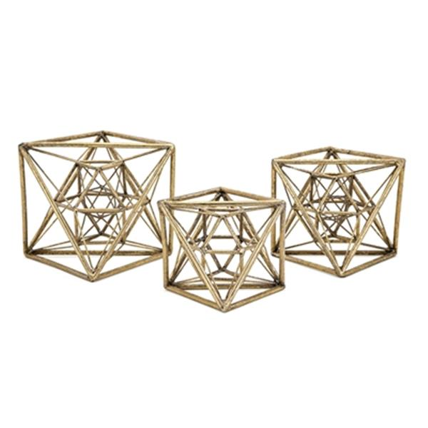 IMAX Worldwide Wright Antique Gold Metal Stautaries (Set Of 3)