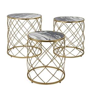 IMAX Worldwide Contrast Gold Faux Marble Tables (Set of 3)