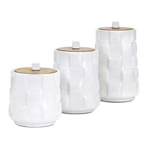 IMAX Worldwide Gamil White Glaze Canisters (Set of 3)