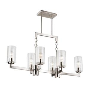 Cascadia Addison 8-Light LED Nickel Island Pendant Light with Light Switch