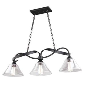 Cascadia Cinta 3-Light Bronze Linear Chandelier Island Pendant Light