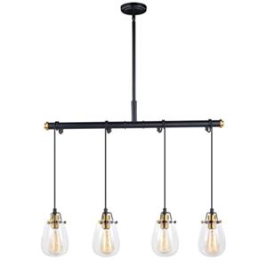 Cascadia Kassidy 4-Light Black Teardrop Chandelier Island Pendant Light