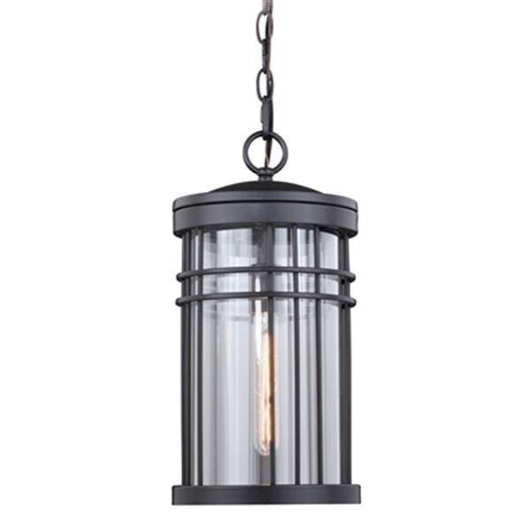 Cascadia Wrightwood 1-Light Black Outdoor Cylinder Pendant Light