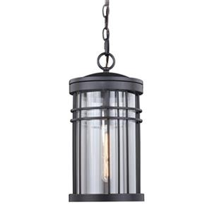 Cascadia Wrightwood 1-Light Black Outdoor Cylinder Pendant Light