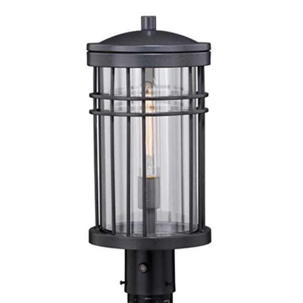 Cascadia Wrightwood 1-Light Dusk to Dawn Black Outdoor Post Light